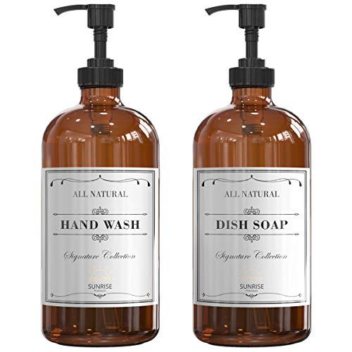 SUNRISE PREMIUM 2-Pack 16 Oz Amber Glass Hand Soap Dispenser with Plastic Pump, Empty Refillable Soap Pump Dispenser for Bathroom and Kitchen