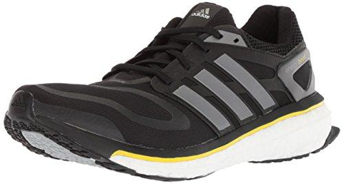 adidas Performance Men's Energy Boost m Running Shoe, Core Black/Iron Metallic/Vivid Yellow, 7 M US