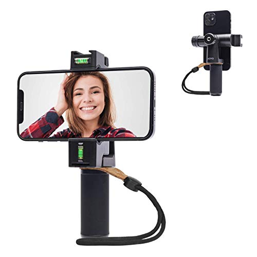 Movo PR-3 Rotating Smartphone Grip Handle Rig with Vertical and Horizonal Positions, Wrist Strap, Tripod Mount, Cold Shoe Mount for Lights and Microphones - for iPhone, Samsung, Google, Android Phones