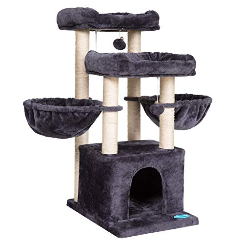 Hey-brother 37.8 inches Medium-Size Cat Tree for 3 Cats Use with Luxury Condo, Cat Tower with 2...