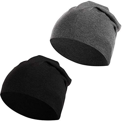 LYTIVAGEN 2 PCS Gorro de Dormir Unisexo Sombrero Suave para Dormir Transpirables Deresina Gorro para Pérdida de Cabello, Cáncer, Quimioterapia (Negro y Gris) ✅