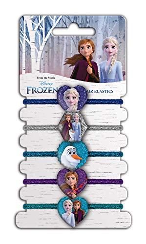 CRAZE Gomas Niña Frozen 2, 5 Tipos Coleteros Princesas Disney para Niñas, Accesorios Pelo Infantiles, Formas Corazones, Elásticas,, Multicolor (22153)