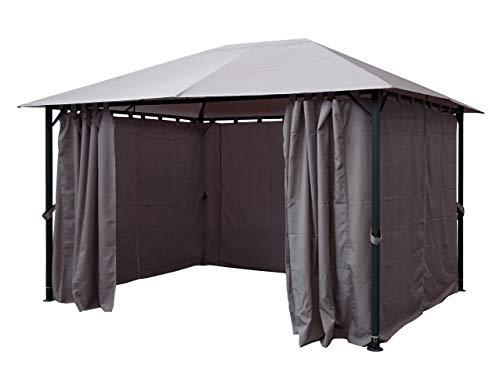 QUICK STAR Metall Garten Pavillon Nizza 3x4m Grau mit 4 Seitenteilen Partyzelt
