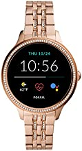 Fossil 42mm Gen 5E Stainless Steel Touchscreen Smart Watch with Heart Rate, Color: Rose Gold Glitz (Model: FTW6073)