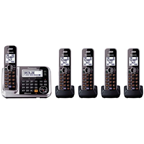 Panasonic KX-TG385SK link to cell cellular convergence solution DECT 6.0 PLUS Cordless Phone with Answering System, with Message Forwarding, Noise Reduction, And Text Message Alert, 5 Handsets