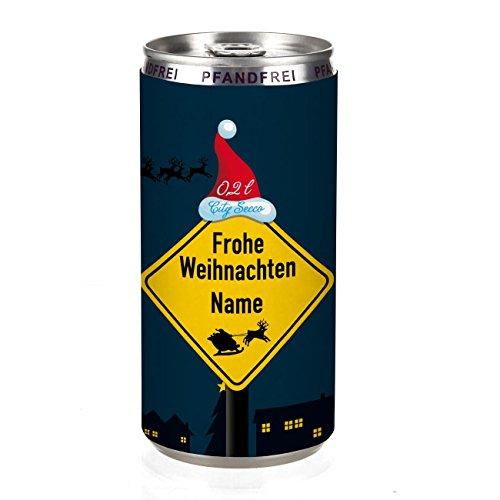 City Secco Perlwein - Frohe Weihnachten - mit Wunschname (weiß trocken) 200 ml