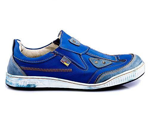 TMA 4191 Herren Halbschuh Slipper Sneaker Leder blau alle Größen 41-46 EUR 44