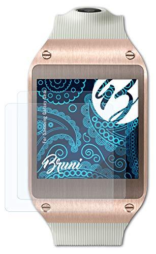 Bruni Schutzfolie kompatibel mit Samsung Galaxy Gear Folie, glasklare Bildschirmschutzfolie (2X)