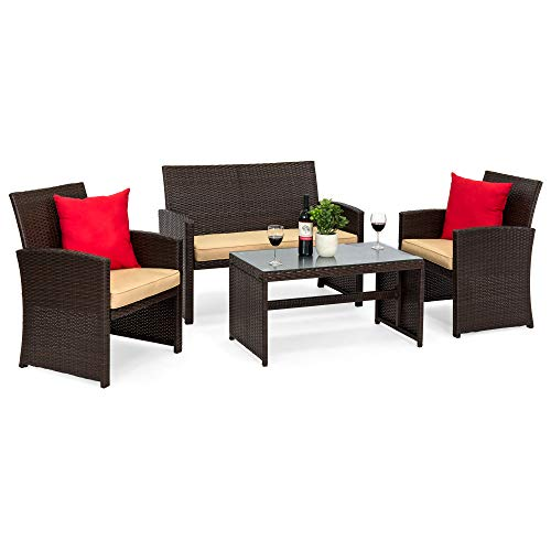 Best Choice Products 4-Piece Wicker Patio Conversation Furniture Set w/ 4 Seats, Tempered Glass Tabletop - Brown Wicker/Beige Cushions