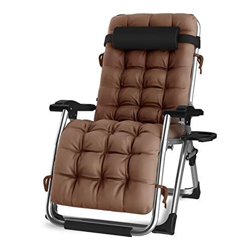 DQCHAIR Silla reclinable para Actividades al Aire Libre con Gravedad Cero y portavasos, Silla Extra Ancha y Ajustable para tumbonas de Patio Garden Beach Beach, con Cojines de 200 kg (Brown)