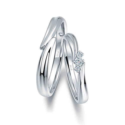 KnSam Anillo Oro Blanco de 18K, Cruzar Intersecarse Anillo de Bodas con Diamante Blanco 0.026ct, Anillo de Hombre Anillo de Mujer (Precio por 2 Anillos)
