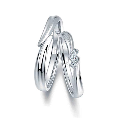 KnSam Anillo Oro Blanco de 18K, Cruzar Intersecarse Anillo Solitario con Diamante Blanco 0.026ct, Mujer Talla 11 y Hombre Talla 30 (Precio por 2 Anillos)