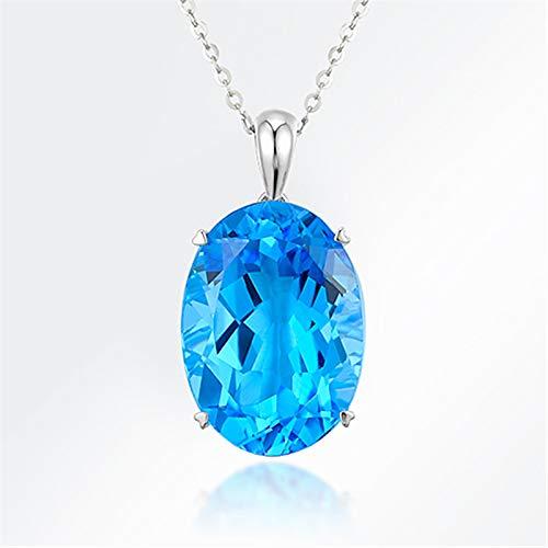 WEIKAI Collar para Mujer Colgante De Diamantes De Aguamarina Colgante De Topacio Zafiro Anillo En Forma De Huevo con Diamantes Suizos Colgante De Piedra Suelta