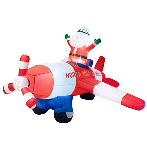 Tangkula 8 Ft Inflatable Christmas Santa Claus Blow-up with Airplane, Classic Christmas Decorations with 3 Sets of LED Bulbs, Outdoor Indoor Holiday Decorations for Nighttime Display (Red & White)