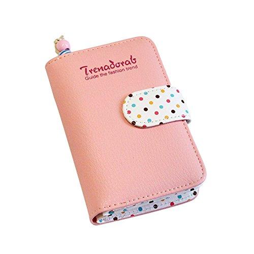 Portemonnaie Geldbörse Schöner Rosa Geldbeutel mit bunten Speckle, Zwei Falten Geldbeutel, Elegante Mädchen Kurze Geldbeutel, Handtasche(Rosa, S)