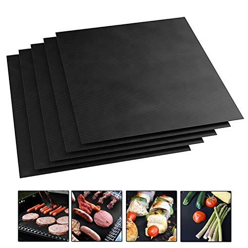 KEPEAK 5 Pezzi Pad per Barbecue, BBQ Tappetino Riutilizzabile, Antiaderente/Resistenza Alta Temperatura, Maglia da Cucina per Interni All'Aperto 40x33cm