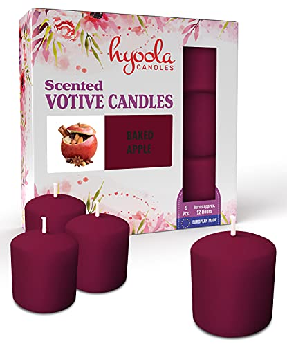 Hyoola Scented Votive Candles - Baked Apple Votive Candles -12 Hour Burn Time - 9 Pack - European Made