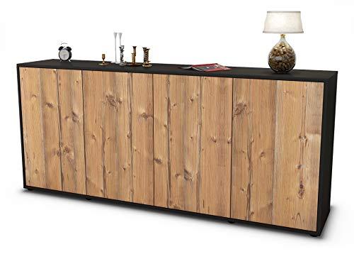 Stil.Zeit Sideboard Elana/Korpus anthrazit matt/Front Holz-Design Pinie (180x79x35cm) Push-to-Open Technik