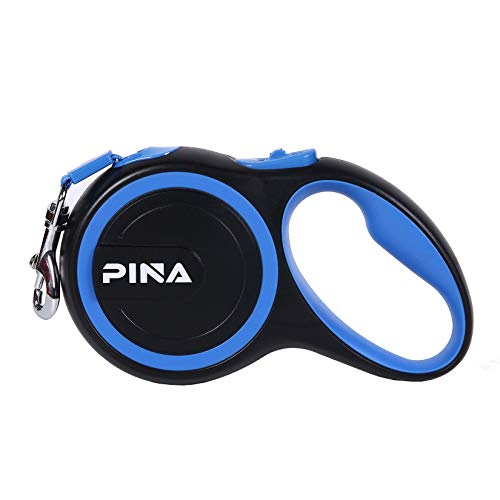 Price comparison product image PINA Upgraded Retractable Dog Leash,  16ft Strong Anti-bite Nylon Tape for Small Medium Dogs up to 55 lbsHeavy Duty Pet Walking Leash with Anti-Slip Handle, One Button Lock & Release Black Blue