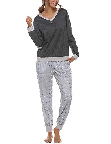 NewPI Pigiama Cotone Donna Manica Lunga Camicie da Notte Donna a Due Pezzi Pigiami Donna Inverno
