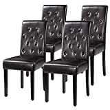 Yaheetech Dining Chairs with Waterproof leather Surface and Rubber Wood Legs Modern Style Tufted for Kitchen Living Room Bedroom lounge, Set of 4, Brown