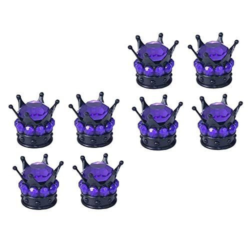 B Blesiya 8 King Queen Diamond Tapas de VÁLVULA Neumático Vástago de Rueda Universal Car Purple
