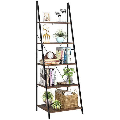Homfa Estantería Escalera Librería de Pared Estantería Metálica para Salón Terraza Dormitorio con 5 Niveles Vintage y Negro 60x50x180cm