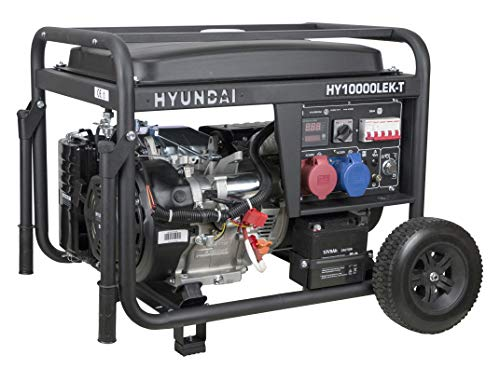 HYUNDAI Benzin-Generator HY10000LEK-T D, Notstromaggregat mit 9.4kVA (400V) / 7.5kW (230V) Leistung, Stromerzeuger für Baustellen, Stromgenerator für Notstromversorgung, Stromaggregat.