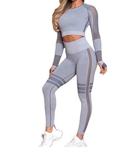 CrisKat Womens Sports Clothing Set Long Sleeve Running Top 2 Piece Trousers High Waist Yoga Gym Wear