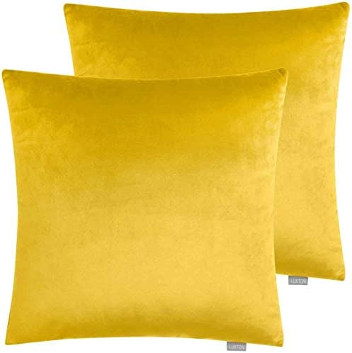 Luxton Set of 2 Velvet Throw Pillow Covers Yellow Decorative Pillow Covers 18x18 for Bedroom product image