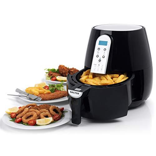 Salter EK2559 XL Hot Air Fryer with Non-Stick Basket, Digital Touch Sensitive Controls, Adjustable Timer, Healthier Oil Free Cooking, 4.5 Litre, 1500 W, Black