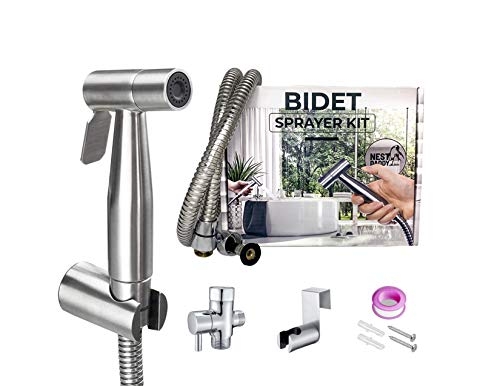 Handheld Bidet Sprayer for Toilet Stainless Steel Complete Bidet Set-Reduce toilet paper waste-Adjustable water Pressure Control-Baby Cloth Diaper Washing