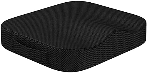Car Seat Cushion Pad for Car Driver Seat Office Sweet Home Collection Memory Foam Chair Cushion Honeycomb Pattern Solid Color Slip Non Skid (black)