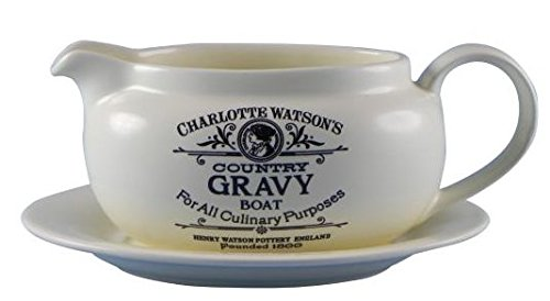 Charlotte Watson Country Collection in Cream Gravy Boat with Stand