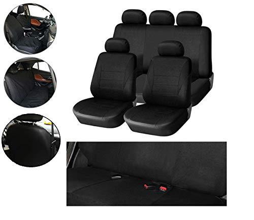 Flexzon - Juego completo de fundas para asiento de coche, color negro