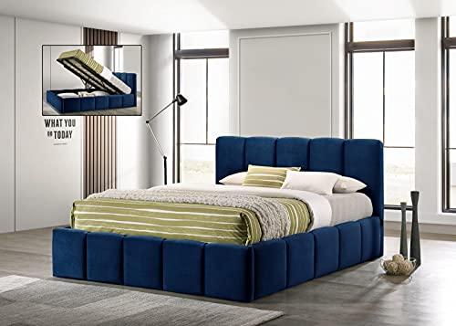 Cama plegable con caja de almacenamiento, tapizada con tela Marco Velvet Blue-200 x 160 cm