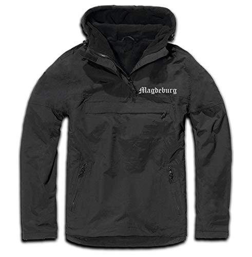 HB_Druck Magdeburg Windbreaker - Altdeutsch - Bestickt - Winterjacke Jacke Schwarz L