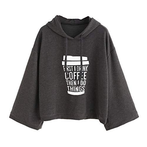 VECDY Damen Pullover Fashion Tshirt Frauen Tops Hoodie Kaffee Gedruckt Frauen Fledermausärmel Sweatshirt Jumper Kurze Ernte Oberteile Jacke