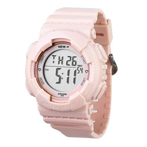 Sport Digital Armbanduhr mit 7-Farben-Hintergrundbeleuchtung Alarm und Stoppuhr, Harzarmband (Rosa)