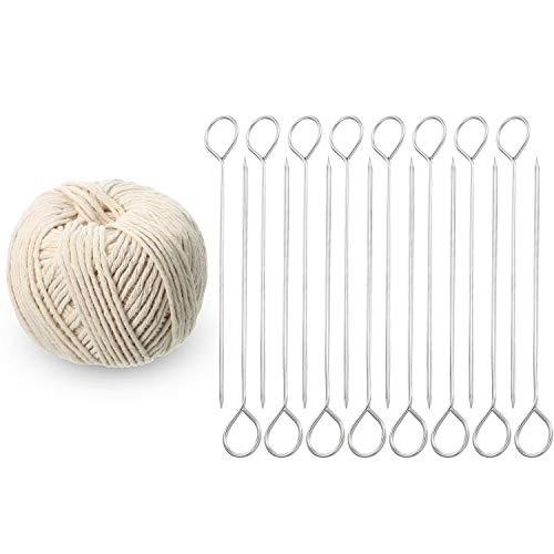 WILLBOND 17 Pieces Poultry Lacing Kit, 6 Inch Turkey Lacers Meat Roasting Trussing Needles Barbecue Skewers Cooking Twine Cooking String for Turkey Poultry Grilling Supplies