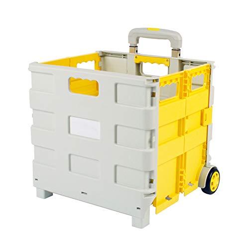LSCZQ Multifunktions-tragbarer zusammenklappbarer Einkaufs-Gebrauchshandwagen mit abriebfestem zweirädrigem, starkem und umweltfreundlichem schwerem Plastik, Lebensmittelgeschäft-Speicher-Auto