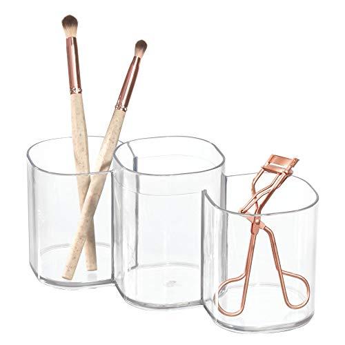 InterDesign Clarity Organizador de maquillaje, caja con compartimentos redondos en plástico, portalápices...