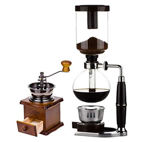 JIANMUDAN Vaso 3-5 Taza de café Siphon Tabletop Balance Sifón (Siphon) Fabricante de café de Gravedad y Quemador de Alcohol con Estilo Vintage de Madera Molinillo de Mano Grano de café Especia, C