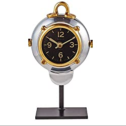 Mid Century Modern Nautical Table Desk Clock | Silver Brass Diver Porthole
