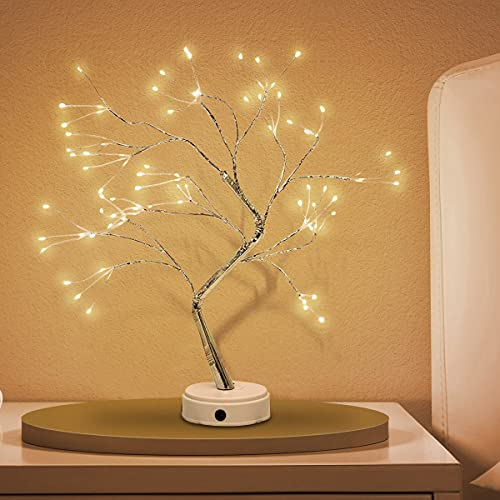 WANTFUN 20 inches Tabletop Bonsai Tree Light with 108 LED Lights-USB/Battery Touch Switch, Fairy Spirit Light Tree Celtic Serenity, Artificial Lighted Tree Lamp for Home Decor, for Her, Women, Firefly