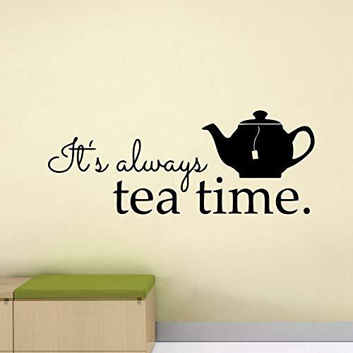 SLQUIET Tea Time Wall Decal Poster Cita de restaurante Tetera Cocina Sala de estar Mural Vinilo Pegatinas Decoración del hogar Pegatinas de pared Pegatinas de moda 06 naranja 106X42 CM