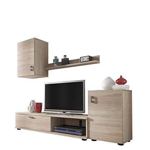 Mirjan24 Wohnwand Lia, Elegantes Wohnzimmer Set, Praktische Anbauwand, Schrankwand, Hängeschrank, TV Lowboard, Stehschrank (Wenge)