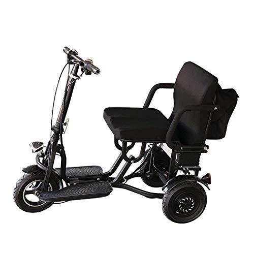 QCKDQ Tragbarer Reise-Scooter, 3-Rad-Faltbarer Elektrisches Dreirad, Ältere/Behinderte/Outdoor-Reisen Elektroroller Für Erwachsene - 265 Lbs Max Weight