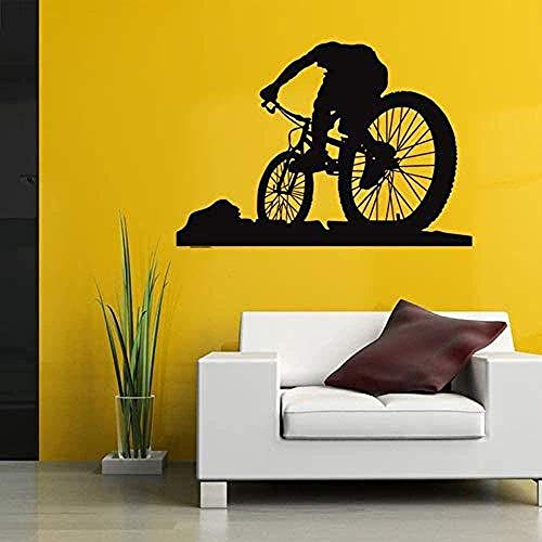 Wall Stickers Decals Wallpaper Mountain Bike Racing Racer Sports Pattern Carved Removable Vinyl Art Living Room Bedroom Home Decoration 40X57 cm