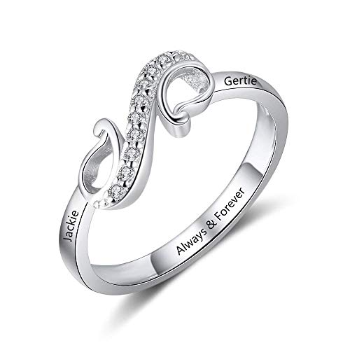 Gaosh Anillo infinito con grabado personalizado Forever Love Cubic Zirconia Anniversary Ring Trust Ring Ladies Ring 925 Sterling Silver Gift For Birthday (8)